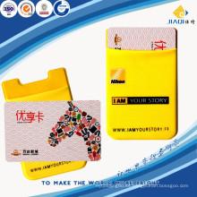 Titular promocional de la tarjeta del teléfono móvil del silicón del lycra pegajoso