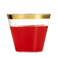 9 унций розовый/золото/мычка обод блеск прозрачный пластиковый чашки PS тумблеры
