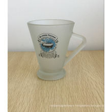 250ml Frosted Glass Beer Mug stein With Triangle Handle.