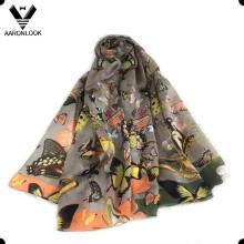 2016 nuevo estilo de la flor de mariposa 100% bufanda de seda de morera