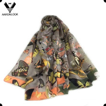 2016 New Style Butterfly Flower 100% Mulberry Silk Scarf