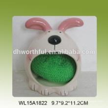 Ceramic sponge holder with rabbit figure