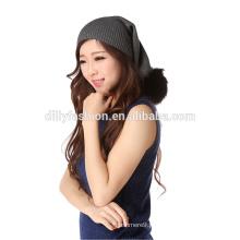 Moda tricô de inverno cachecol pele pom pom engraçado chapéu mulheres slouchy beanie cap