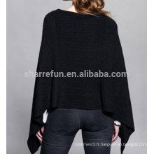 Poncho tricoté noir 100% cachemire pour femmes, 12gg