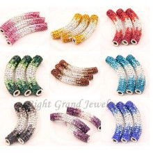 Mixed Color Rhinestone Paved Bending Tube Beads Shamballa Beads Findings