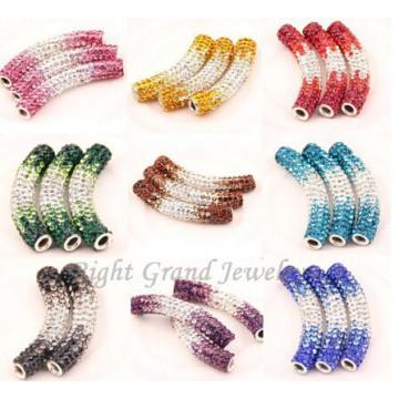 Gemischte Farbe Strass gepflastert Biegen Rohr Perlen Shamballa Perlen Zubehöre