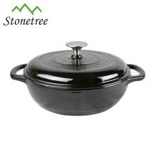 Plato de cazuela de hierro fundido oval de esmalte negro / cazuela / ollas / cocottes de cocina