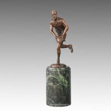 Sport-Statue Rugby-Spieler Bronze-Skulptur, Milo TPE-723