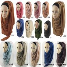 Mode épaisseur femmes en gros écharpe musulmane bulle en mousseline de soie châle écharpe hijab
