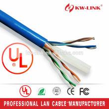 CAT6 UTP 24AWG / 23AWG CCA / Cobre puro Cable clasificado UL de la red de UL
