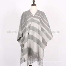 customized light grey stripes winter wool shawl wraps