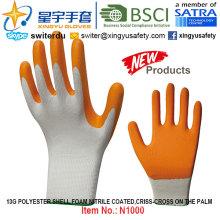 13G полиэфирные перчатки с покрытием из нитрила (N1000) Criss-Cross на ладони с CE, En388, En420, рабочие перчатки