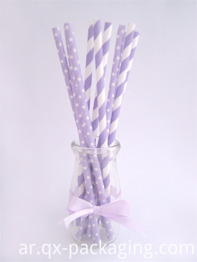 Purple and White Paper Straws