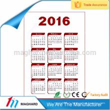 2016 Горячие продажи рекламных подарок плоский календарь магниты холодильник магнит стикер