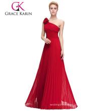 Grace Karin un hombro sin tirantes de gasa roja vestido de fiesta largo CL3467-2
