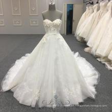 Vestido de novia simple princesa sin tirantes Puffy Vestidos De Novia vestido de bola Vestidos de novia con correa muestras reales