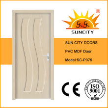 Cheaper Price Waterproof MDF PVC Toilet Door with Glass (SC-P075)
