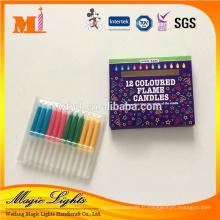 12pcs couleur papier boîte drôle couleur flamme anniversaire bougie