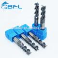 Fraise en bout carrée de cannelure de carbure de tungstène 4 de BFL pour l'usinage de commande numérique par ordinateur d'acier inoxydable