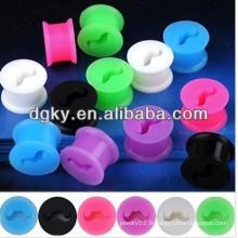 Bouchon d'oreille en silicone à piercing coloré