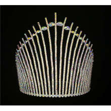 Handmade AB Rhinestone Tiara Pageants King Crown