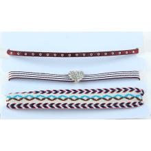 Drei Reihen bunt Blume Stoff Halsband Set