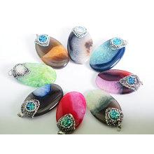 Heißer Verkauf Multi-Color Precius Edelstein Achat Kristall Anhänger Halskette Charms
