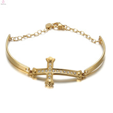 Braceletes de cristal da jóia de Jesus da pérola de Hip Hop, punho de aço inoxidável Bracelete transversal chapeado ouro de Jesus