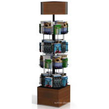 Book Store Or Library Fixture Flooring 4-Tier Rotating Bookshop Wooden Kids Book Display Stand