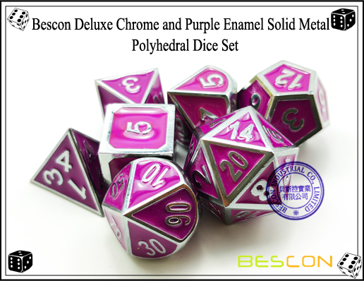 Bescon Deluxe Chrome and Purple Enamel Solid Metal Polyhedral Role Playing RPG Game Dice Set (7 Die in Pack)-6