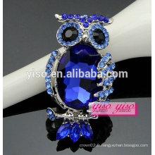 Mode vente chaude pierre bleue broche d'alliage de chouette animale