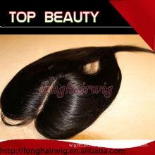 Instock cor natural de seda em linha reta cabelo humano centro parte lace encerramento