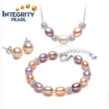 Venta caliente de joyas de perlas Set 7-8mm arroz AAA 925 collar de plata conjunto de perlas