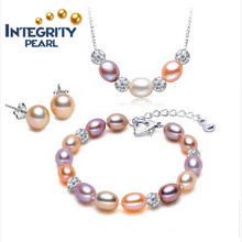 Hot Sell Pearl Jewelry Set 7-8mm Rice AAA 925 Silver Necklace Pearl Set