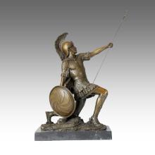 Солдат Рисунок статуя копьем Римский бронзовый воин ТПЭ-371 скульптура