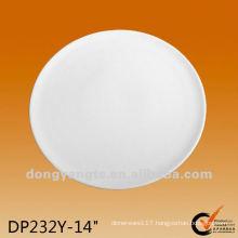 14 Inch Custom white round porcelain flat plates