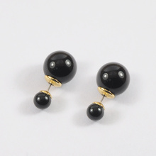 Black and Gold Big Pearl Earring Studs