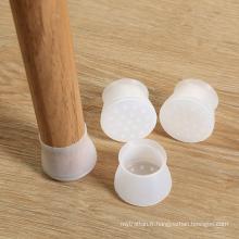 protecteurs de plancher de couverture de jambe de chaise de silicone flexible faite sur commande