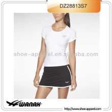 New promotion flat seam women tennis shirt with short wholesale