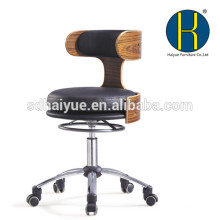 HY5012 2017 Factory manufacturer metal office 5-star chair wheel base height adjustable swivel wood chair for home offic