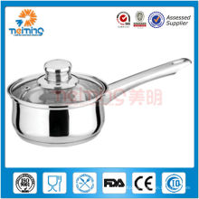 16cm stainless steel milk/sauce pot with glass lid