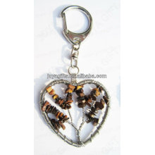 Tigereye chip stone lucky tree Forme coeur Forme gemme, porte-clés en pierre gemme, porte-clés en pierre