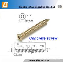 Pregos de concreto de revestimento de zinco de aço carbono Torx-30 amarelo