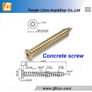 Carbon Steel Torx-30 Yellow Zinc Coating Concrete Nails