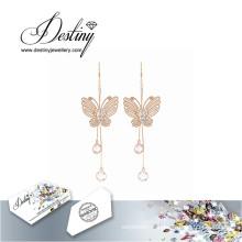 Destin bijoux cristaux de Swarovski boucles d'oreilles papillon élégantes boucles d'oreilles