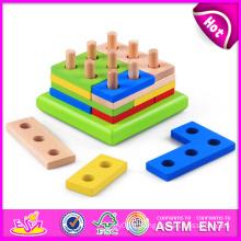 Jouet en bois coloré de 2014 engins pour des enfants, jouet en bois bon marché d'engrenage de jouet pour des enfants, jouet éducatif d'engrenage réglé pour l'usine de bébé W13e044