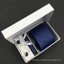 Сплошной темно-шелковые Жаккардовые тканая галстук Запонки Ханки комплект с подарочной коробке