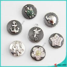 Nueva aleación de diamantes de imitación encaje el botón del encanto de pulseras de cuero