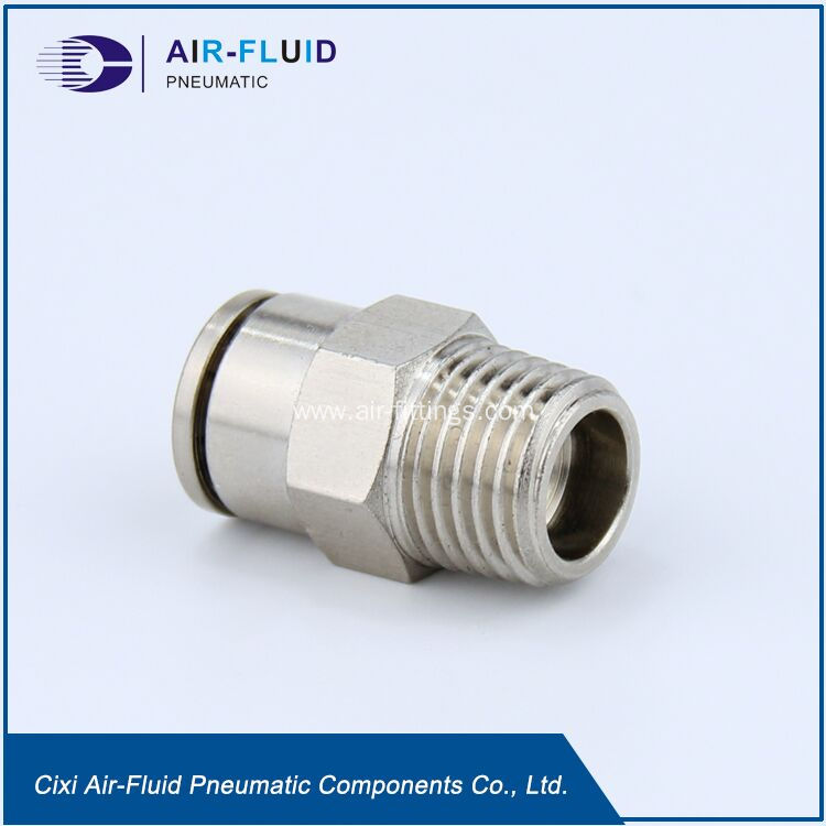 China air fluid nickel plated brass push in fittings