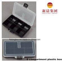 Clear Lid & Black Bottom 6 Compartment Storage Box